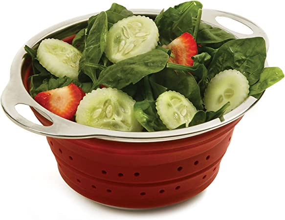 """Norpro 9.5/"""" Silicone Knockdown Collapsible 50oz Pasta Colander Strainer 2183 Red"""