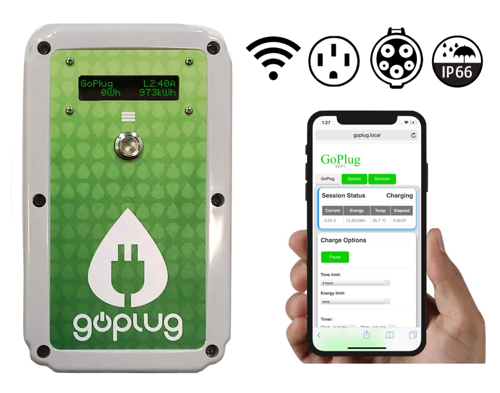 GoPlug Pro 40 Amp EV Charger: Compact Light Outdoor/Indoor Multi-Voltage 120-240V Level 2 Electric Vehicle Charging Station With Ultraflexible 25-Foot EVSE J1772 Cable, Color Display, WiFi, NEMA 14-50 by GoPlug EV Charger (Image #2)