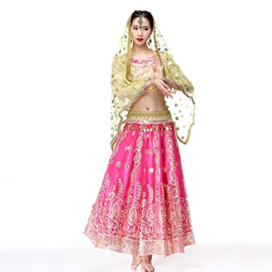 Belly Dance Bollywood Costume   Sari Noble Indian Dance Outfit Halloween  Costumes With Head Veil For