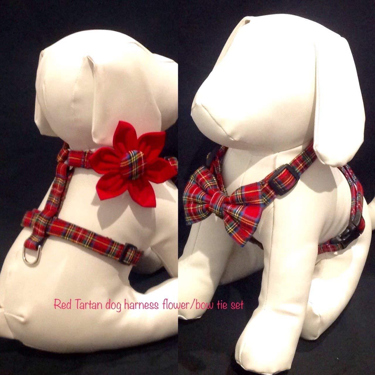71M Ay3JwVL._SL1280_ amazon com dog harness flower bow tie set red tartan sizes xs