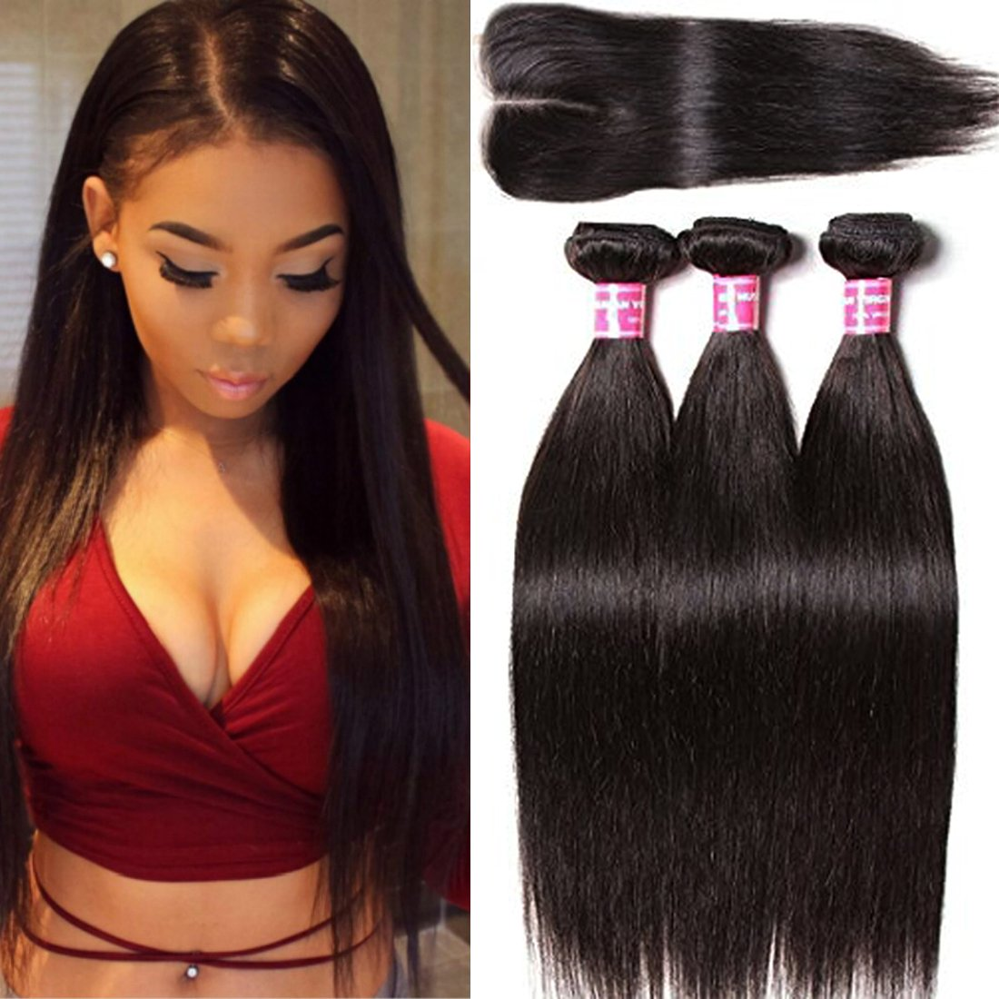 Amazon Klaiyi Hair Brazilian Silky Straight Hair Weave 3
