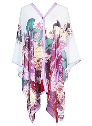S.K LUXURY Women's Summer Beach Floral Printed Chiffon Caftan Poncho Tunic Top Cover Up Purple-412 One Size