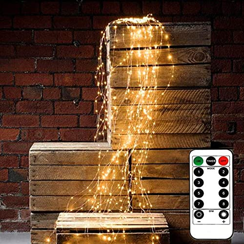 The Corner Of Joy Battery Operated Waterproof String Lights for Outdoor Indoor 8 Modes 200 LED String Fairy Lights, 10 Strand Cascading Waterfall for Holiday Party Decorations Warm White