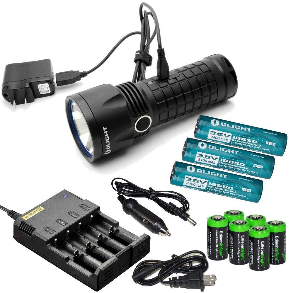 Olight SR52 Intimidator 1200 Lumen Cree XM-L2 LED USB rechargeable Flashlight, Nitecore i4 home/car intelligent Charger, three Olight 18650 3400mAh Li-ion rechargeable batteries and six EdisonBright CR123A Lithium Batteries bundle by Olight