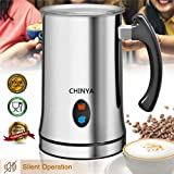Milk Frother, Automatic Milk Steamer with New Foam Density Feature, Electric Frother with Hot or Cold Milk Function for Coffee, Cappuccino and Breakfast (Silver)