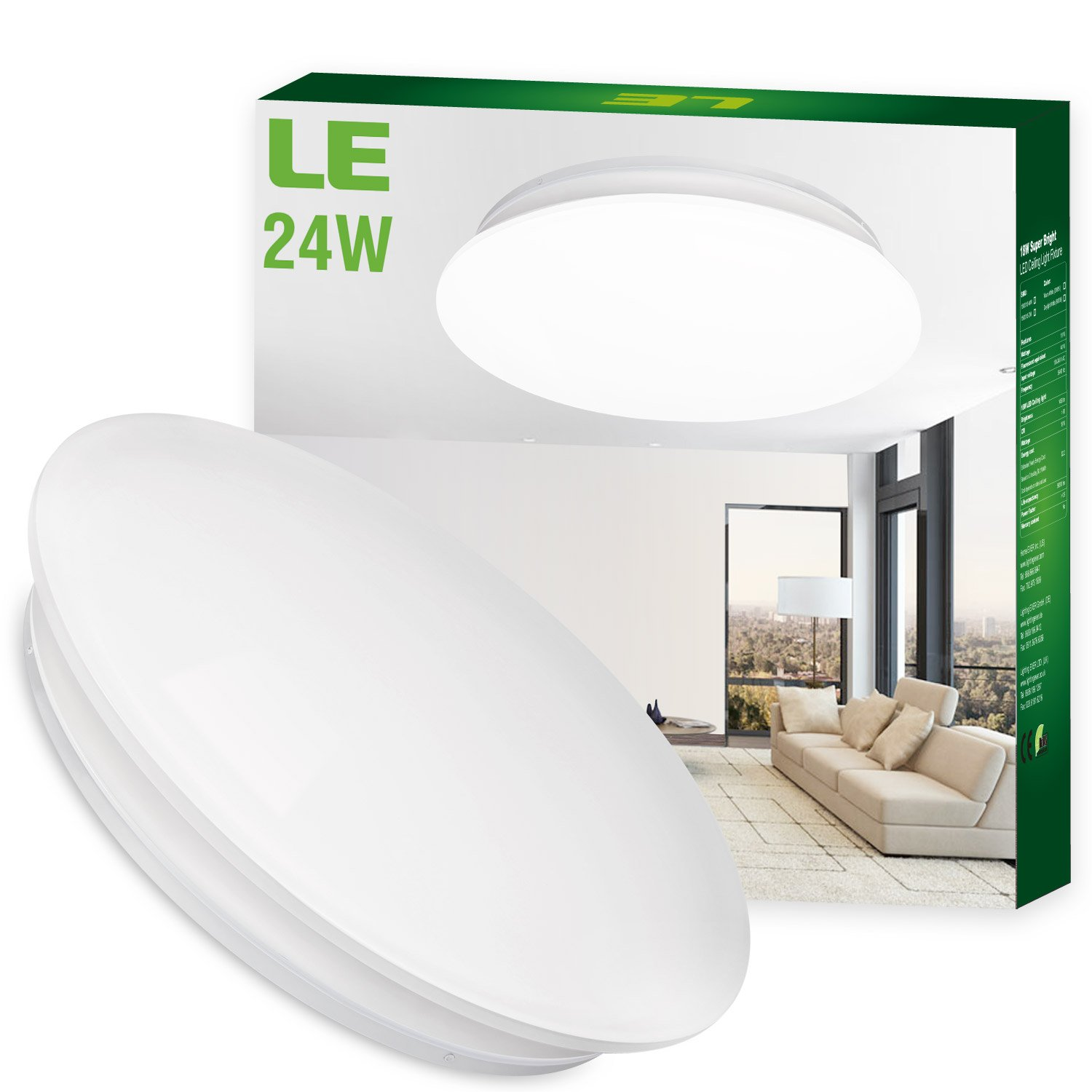 le 24w 16inch daylight white led ceiling lights 180w 50w fluorescent bulb equivalent 2000lm 6000k ceiling light fixture ceiling