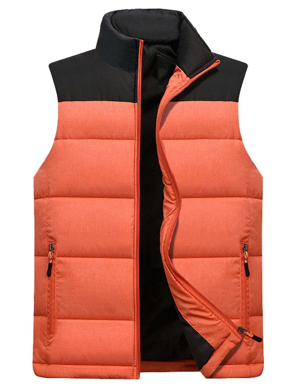 Vcansion Men's Stand Collar Lightweight Vest Casual Down Jacket Coat Vest Orange M