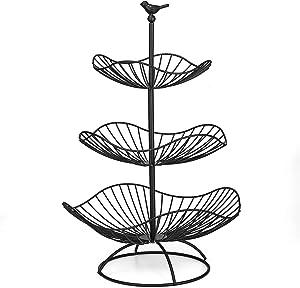 FOYO 3-Tier Fruit Basket Bowl, Countertop Fruit Stand Separable Basket for Vegetables, Snacks, Household Items - Metal Cast Iron Black