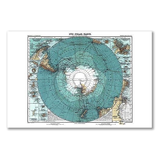 Póster: mapa Antártida alemán polo sur casquetes ATLAS (A1 - 61 x ...