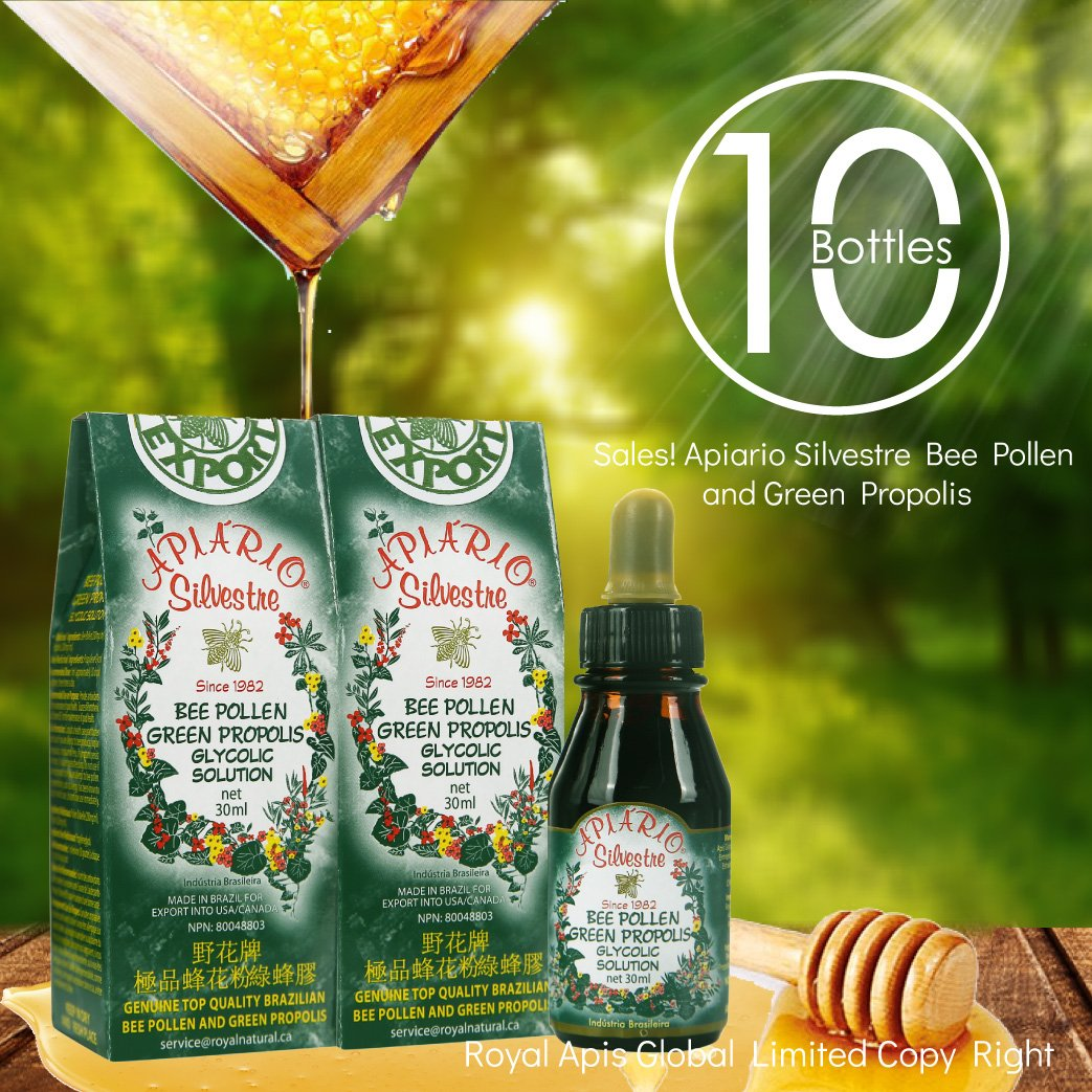 Official Distributor - 10 Bottles of Apiario Silvestre Bee Pollen & Brazil Green Bee Propolis Liquid - Glycolic Extract-Alcohol Free, Wax Free, Sugar Free