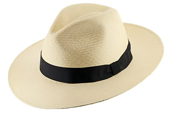 53a6f4345885c Gatsby Fedora Panama Hat Natural Straw Stylish SZ at Amazon Men s Clothing  store  Unisex Safari Hats