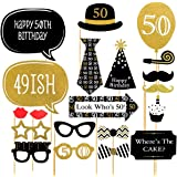 Trimming Shop Funny Photo Booth Party Props for Dress Up Accessories Birthday Special 20pcs - 50th Birthday