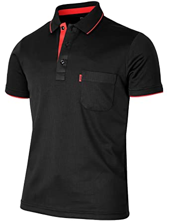 a28f41ab9 BCPOLO Men's Polo Shirt Short Sleeve Solid Polo Shirt Dri Fit Polo Shirt  Black-L
