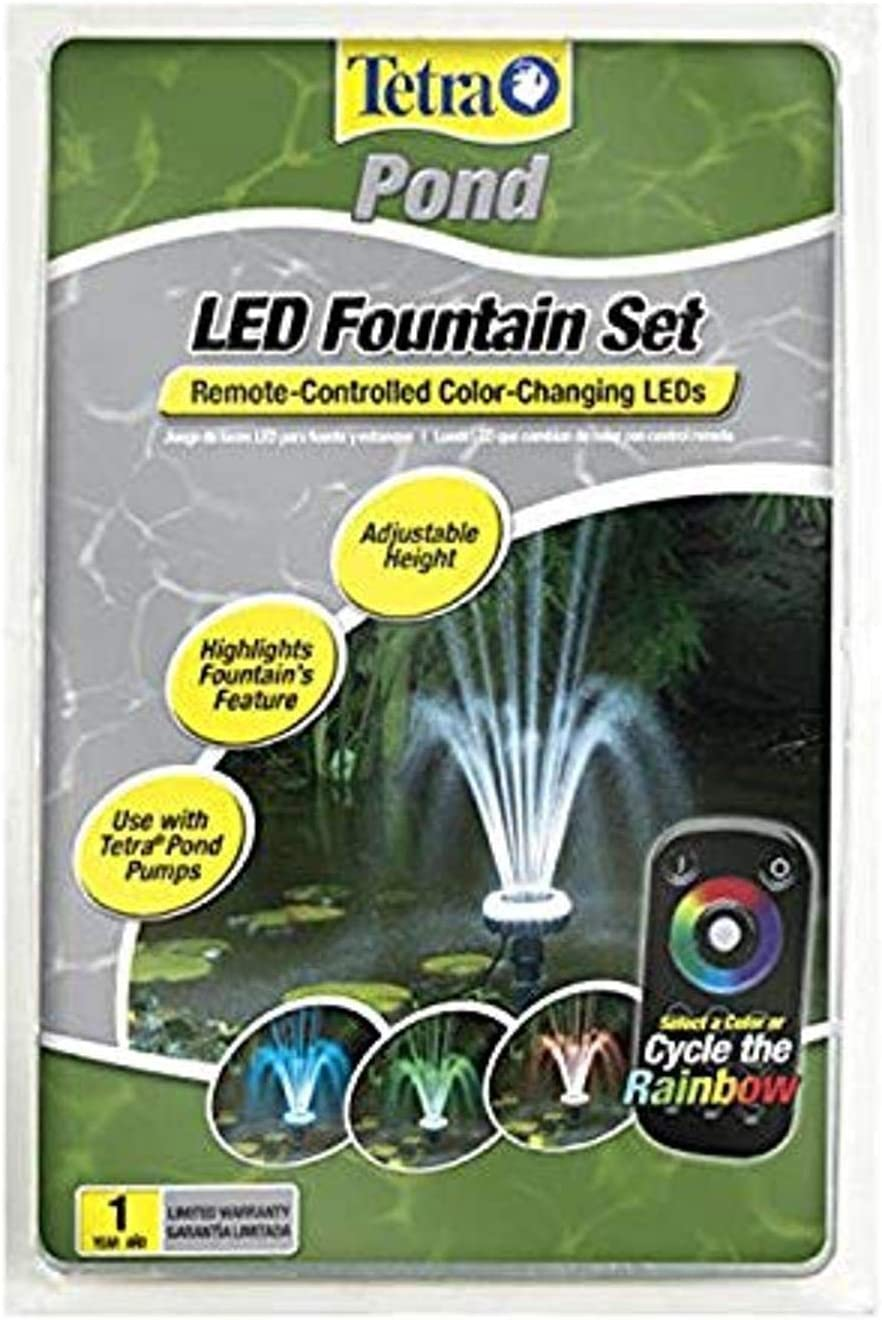 TetraPond LED Fountain Set, Remote-Controlled Color-Changing LEDs