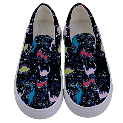 a58026bfa17 PattyCandy Girls Boys Sneakers Dinosaurs Rex Patterns Little & Big Kids  Canvas Slip-on Shoes Size:US8C-7Y