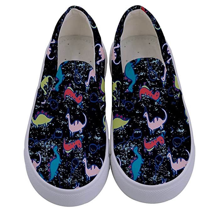 300dbb018f81a PattyCandy Girls Boys Sneakers Dinosaurs Rex Patterns Little & Big Kids  Canvas Slip-on Shoes Size:US8C-7Y