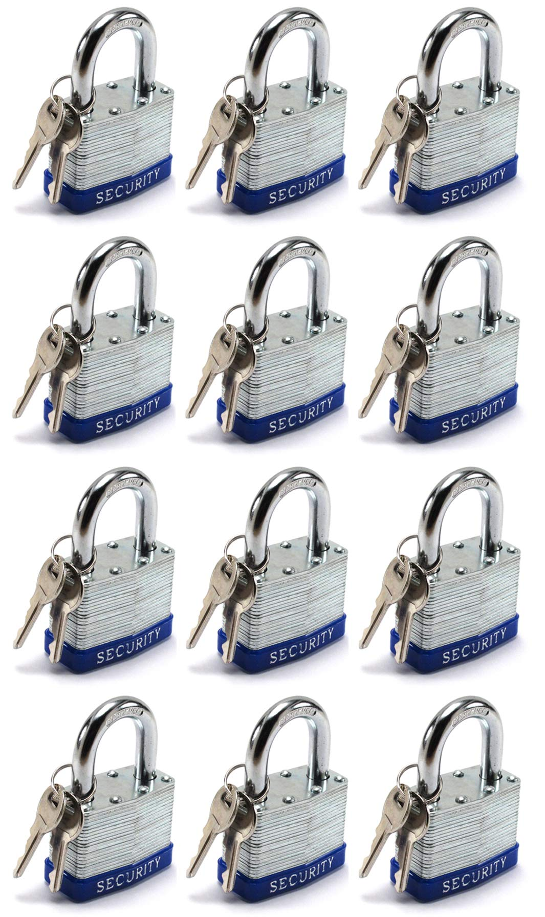 Elitexion Heavy Duty Laminated Steel Padlock, Commercial Grade Keyed Alike 1-Inch (Pack of 12) by Elitexion