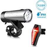 Bike Lights, AQV USB Rechargeable Bicycle Torch with Super Bright 380 Lumen Front and Back LED Bicycle Light Set Easy Install and Quick Release