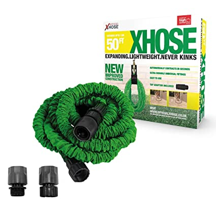 Green 50Ft The Official Xhose Expanding Garden Hose Pipe with Bonus Adaptor