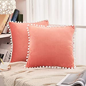 JAUXIO Soft Crystal Velvet Throw Pillow Covers 2 Pack with Pom Poms Decorative Fringes Solid Cushion Cover for Home Decor (Coral, 18