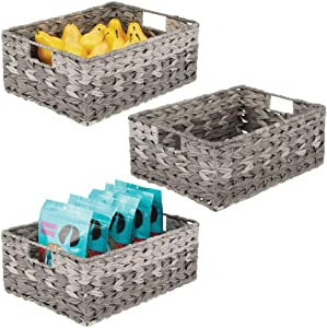mDesign Woven Ombre Farmhouse Kitchen Pantry Food Storage Organizer Basket Bin - for Cabinets, Cupboards, Shelves, Countertops - Holds Potatoes, Onions, Fruit, 3 Pack - Gray Ombre