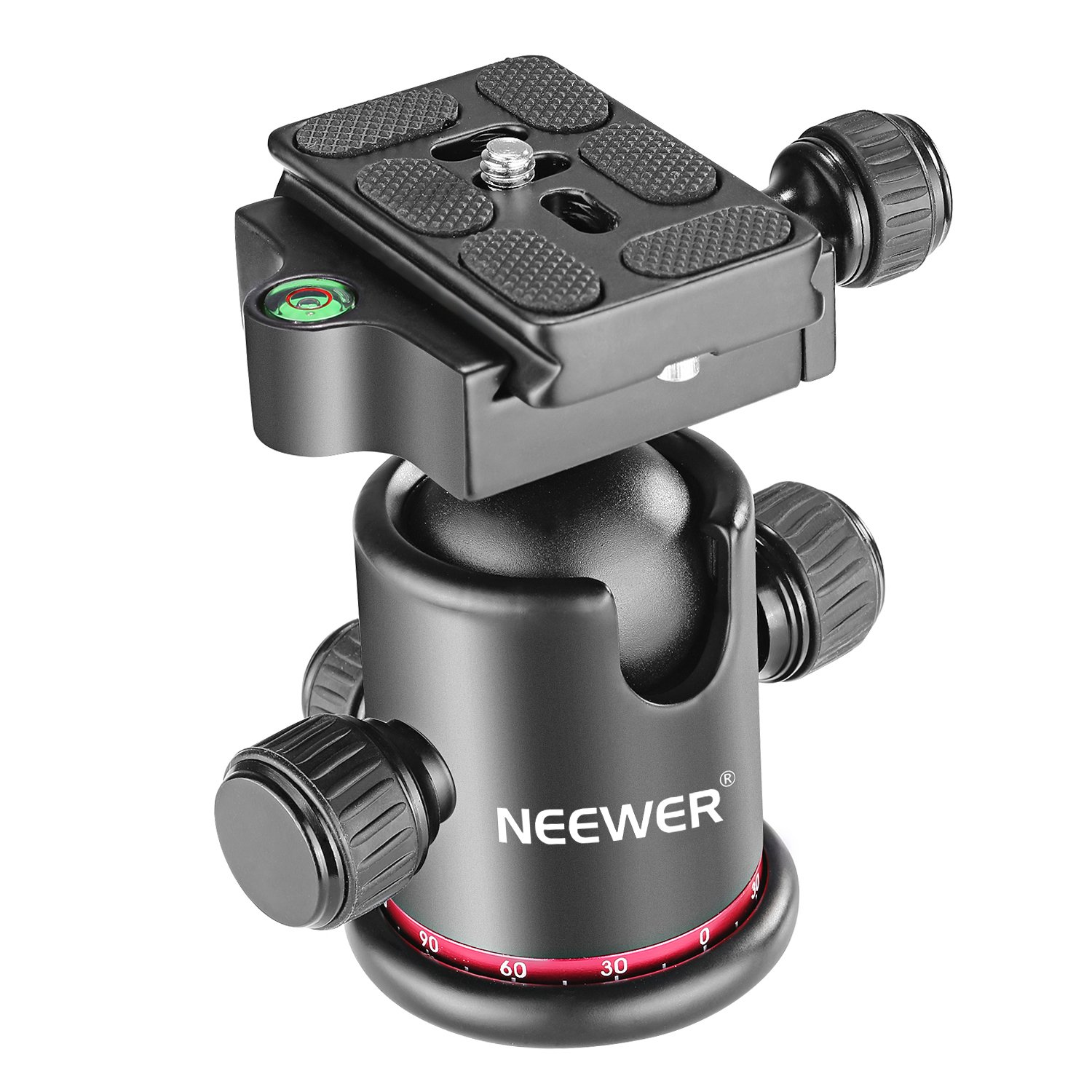 Neewer Professional Metal 360 Degree Rotating Panoramic Ball Head with 1/4 inch Quick Shoe Plate and Bubble Level,up to 17.6pounds/8kilograms,for Tripod,Monopod,Slider,DSLR Camera,Camcorder