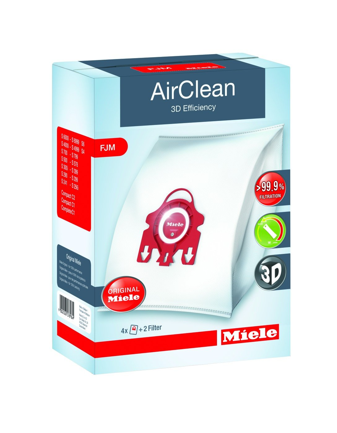 Miele AirClean 3D Efficiency Dust Bag, Type FJM, 4 Bags & 2 Filters by Miele