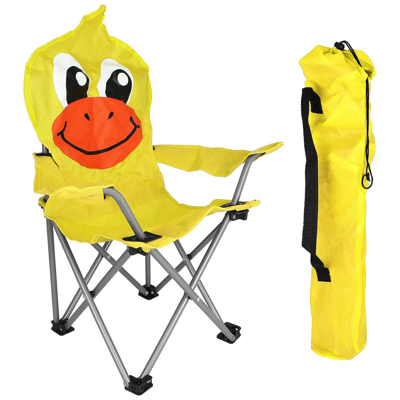Kinder Campingstuhl Anglerstuhl Orange Getränkehalter und Tasche Motiv Maulwurf