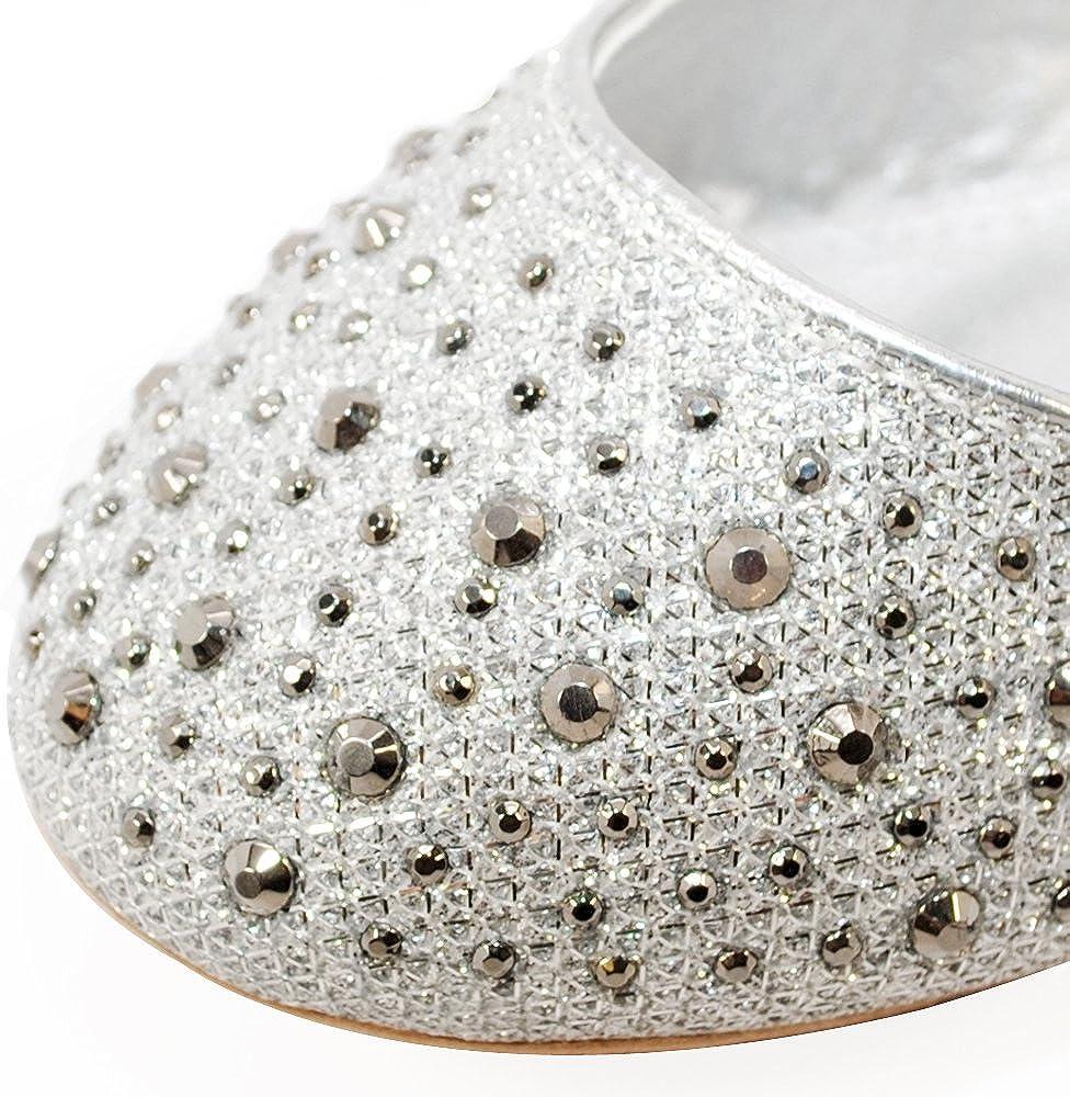 TRENDSup Collection Little Girls Rhinestone Ballet Ballerina Slip on Flats