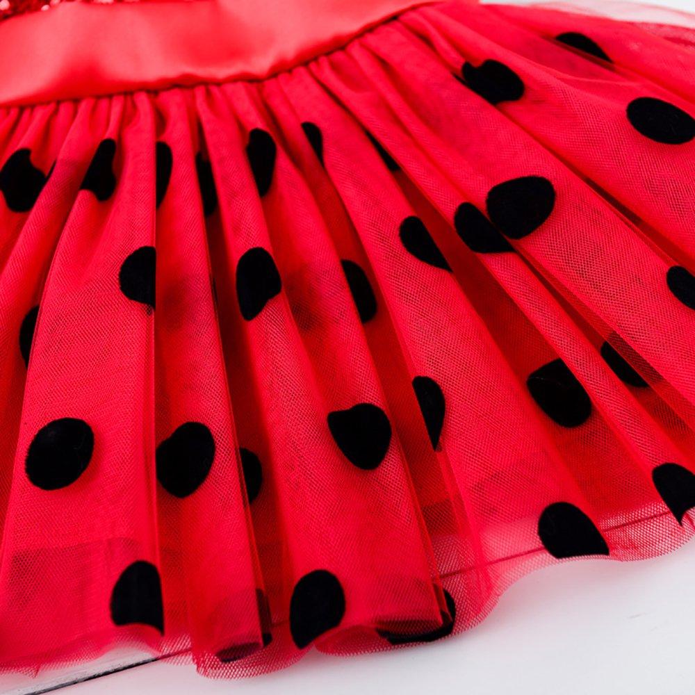 M Ladybug Girls Dress with Mask and Cat Ear Halloween Costumes Beautiful Evening Dress 111-120cm