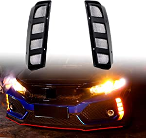 KE-KE Transparent Lens Dual Color DRL Daytime Running Light/Fog Light Dynamic Sequential Turn Signal for 2017 2018 2019 Honda Civic Hatchback Type-R 16-18 or SI 4-Door Sedan (Transparent Lens lattice)