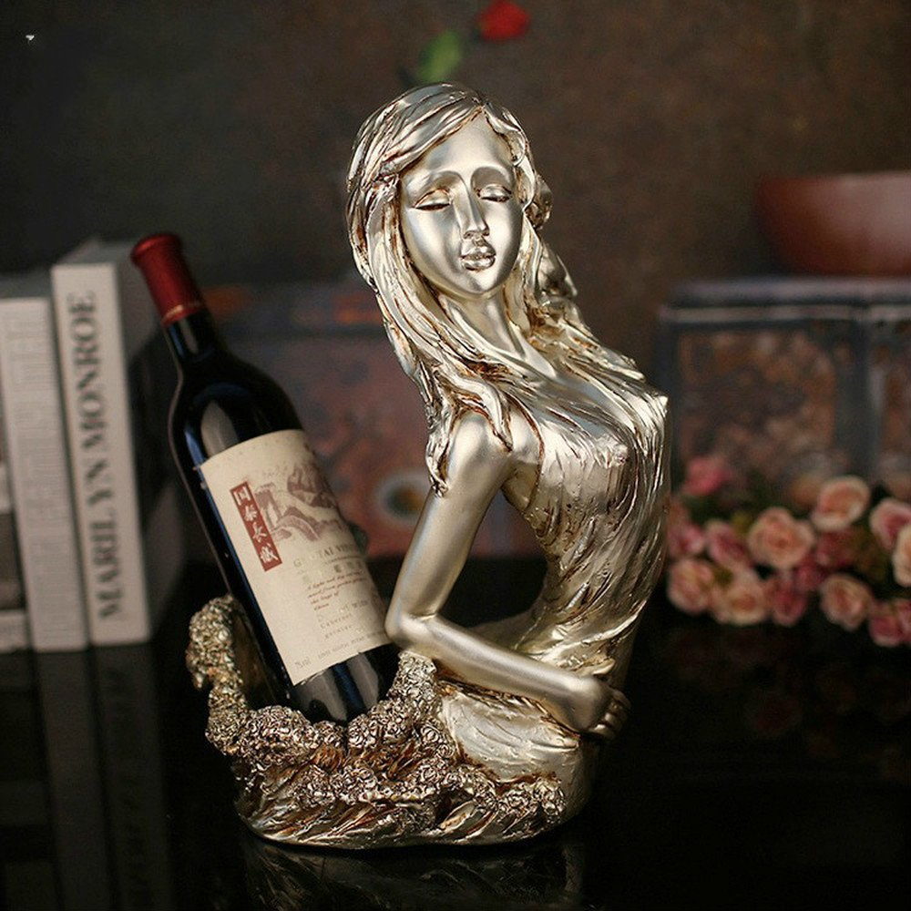 Bwlzsp 1 PCS European resin craft character ornaments hotel KTV creative character red wine rack home decor (without bottle) LU712505