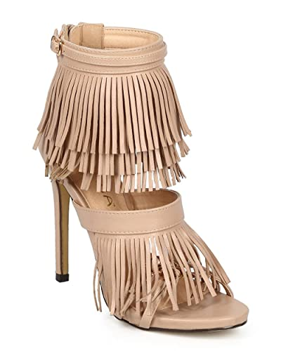 3a03740e861 Liliana Women Leatherette Open Toe Fringe Zip Stiletto Heel Sandal CG69 -  Nude Leatherette
