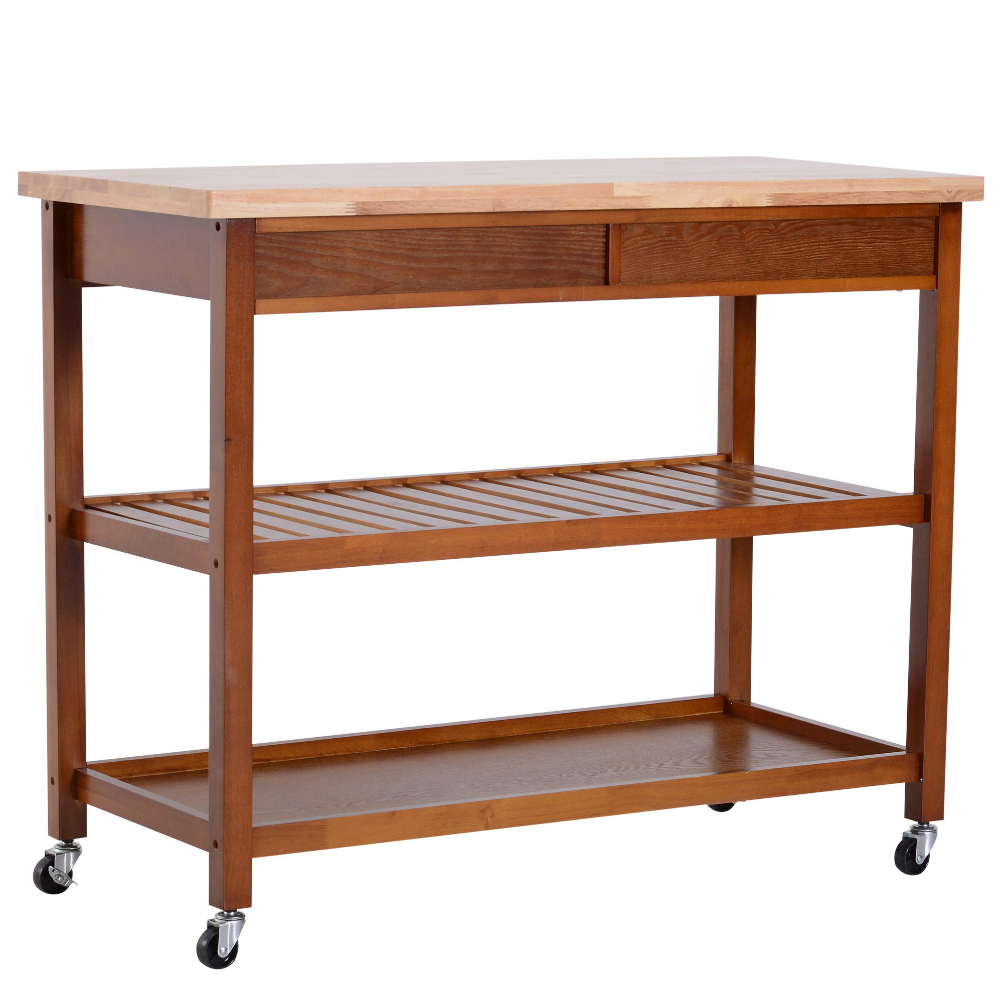 HOMCOM 44'' 3-Tier Rubberwood Kitchen Island Cart on Wheels - Brown by HOMCOM (Image #6)