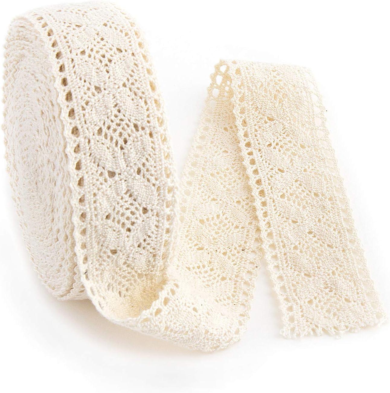 IDONGCAI Nature DIY Handmade Wedding Party Craft Gift Packing Patchwork Cotton Crocheted Lace Ribbon 1.38'' x 10yards/lot (8#)