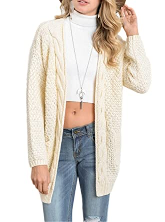 e56347d636b Womens Long Sleeve Open Front Chunky Cable Knit Sweater Cardigans with  Pockets