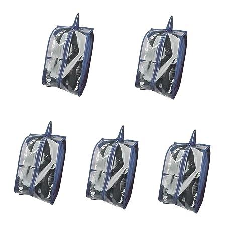 KinHwa Bolsas Zapatos Viaje Organizador Zapatos Viaje con Ventana Transparente (Azul Oscurox5)