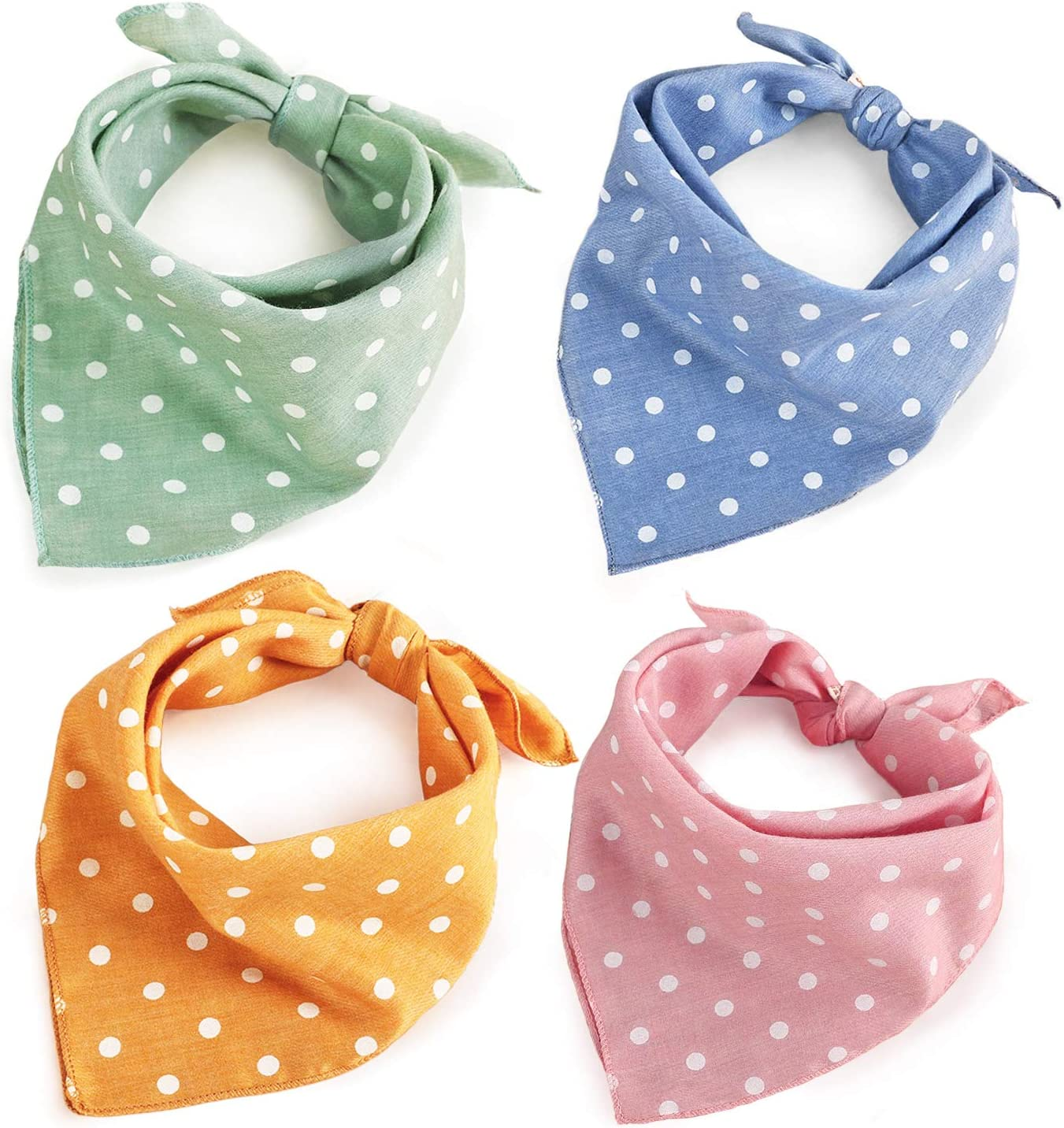 Dog Bandanas - 4PCS Birthday Gift Soft Cotton Dog Kerchief Washable Daily Bibs Pink Green Blue Orange Comfortable Scarfs, Adjustable Accessories for Small Medium Large Girl Boy Dogs Puppies Cats Pets
