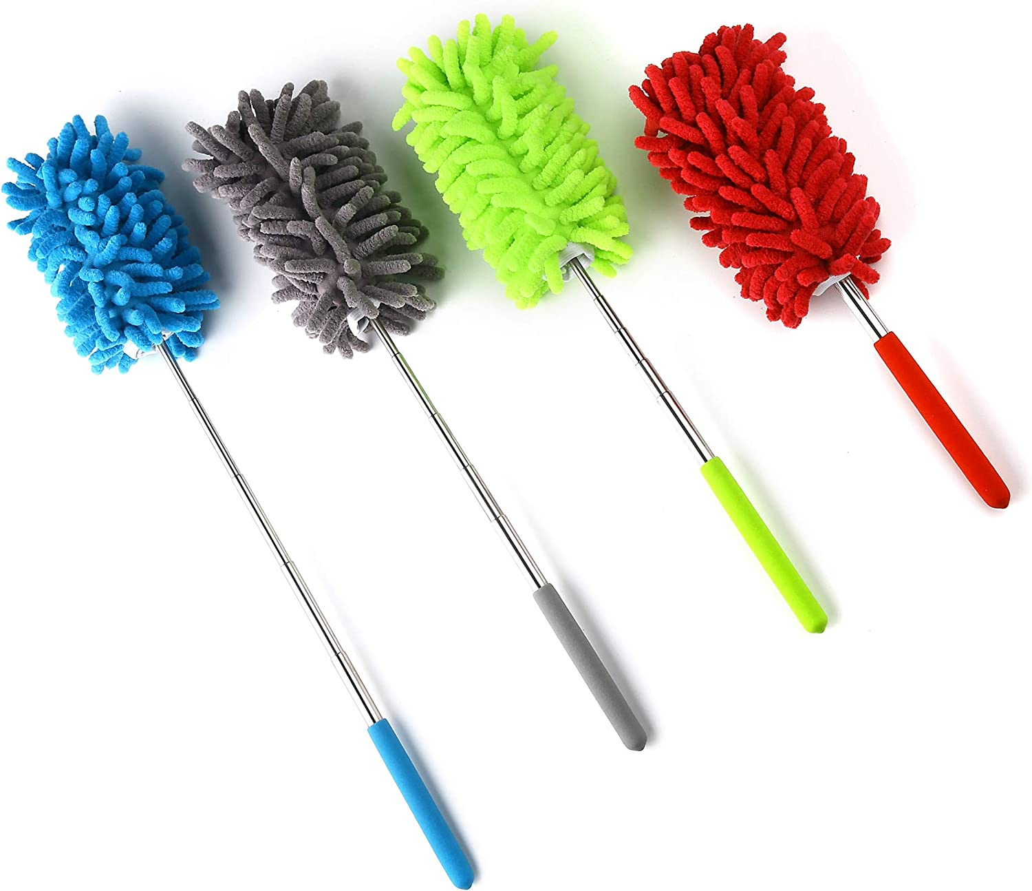 MuchL 4 Pack Microfiber Dusters with Extension Pole, Microfiber Hand Duster for Cleaning Feather Duster for Home, Office, Car, Computer, Air Conditioner, Ceiling Fan and Else