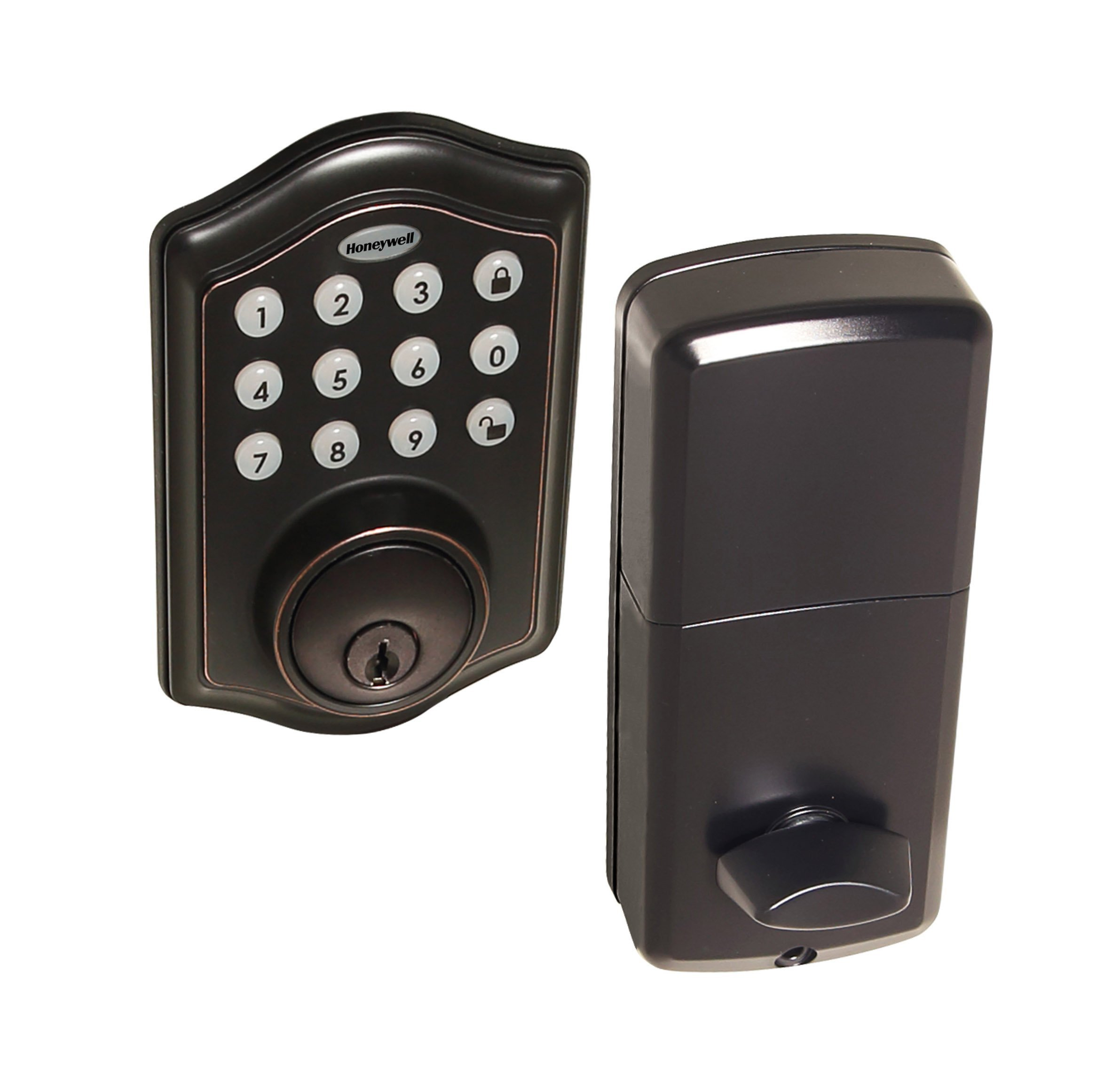 HONEYWELL - 8712409 Electronic Entry Deadbolt with Keypad, Oil Rubbed Bronze
