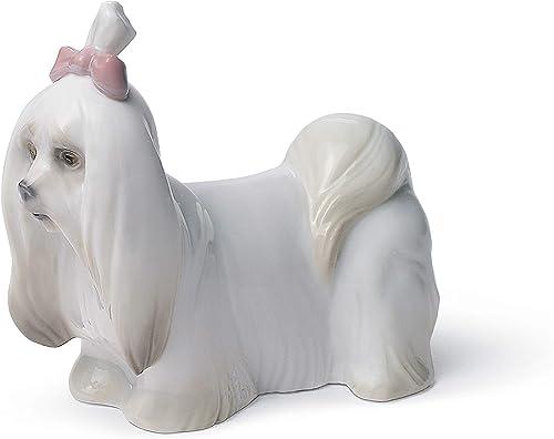 LLADR Maltese Dog Figurine. Porcelain Dog Figure.