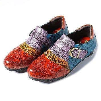 Fuxitoggo Hebilla Zapatos Mujeres cocodrilo Gran tamaño Cuero Plano Colorido Mocasines (Color : Naranja, tamaño : EU 38): Amazon.es: Hogar