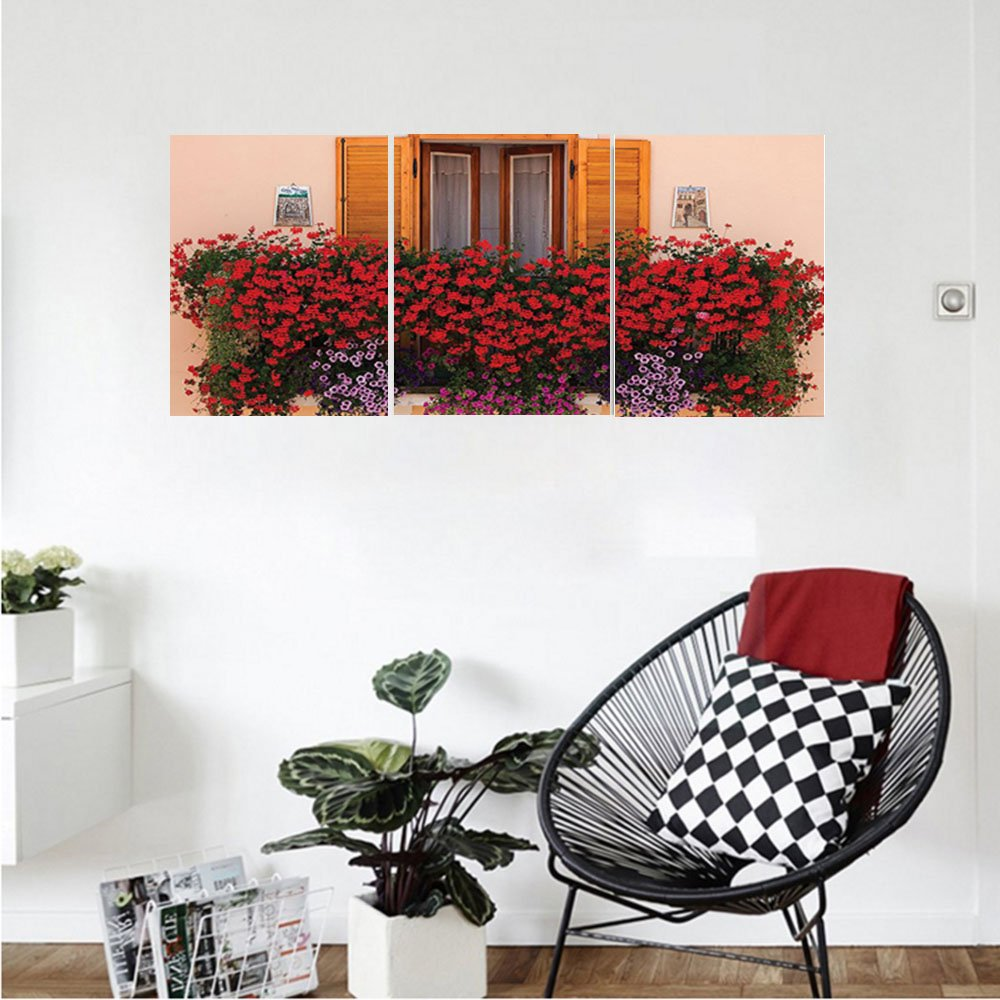 Liguo88 Custom canvas Shutters Decor Collection Photo of Window with Fresh Flowers Mediterranean Summertime Traditional House Bedroom Living Room Wall Hanging Red Peach Green