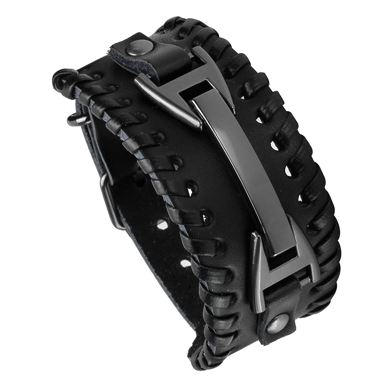 MILAKOO Black Metal Spike Studded Punk Rock Biker Wide Strap Leather Bracelet Chain Wristband Adjustable B07D7VWCH1_US