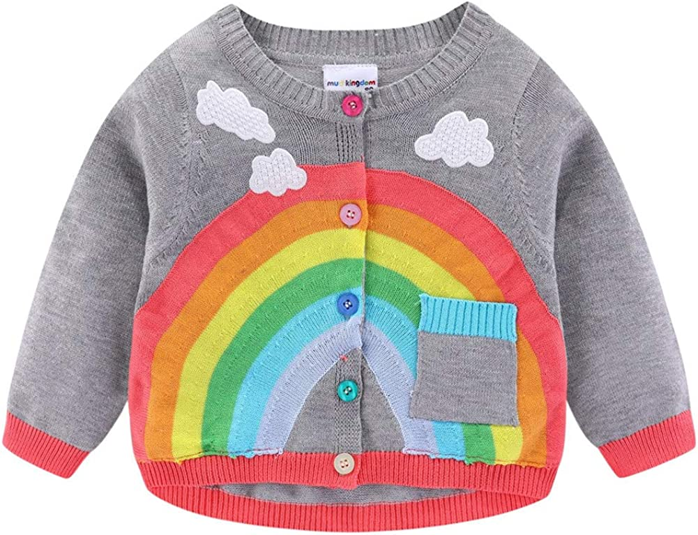 LittleSpring Baby Toddler Boys Girls Rainbow Cardigan Knitted Sweater: Clothing