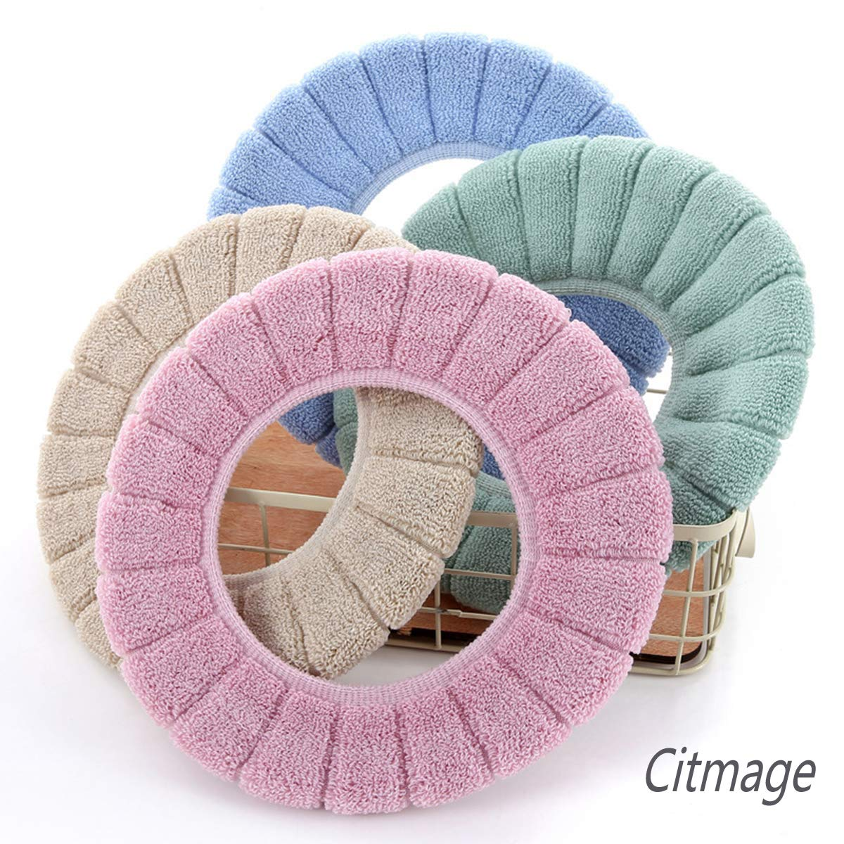 Blue+Pink Citmage Cushioned Toilet Seat Cover Pads Bathroom Soft Fibers Thicker Warmer Stretchable Washable Lid Covers 2Pcs