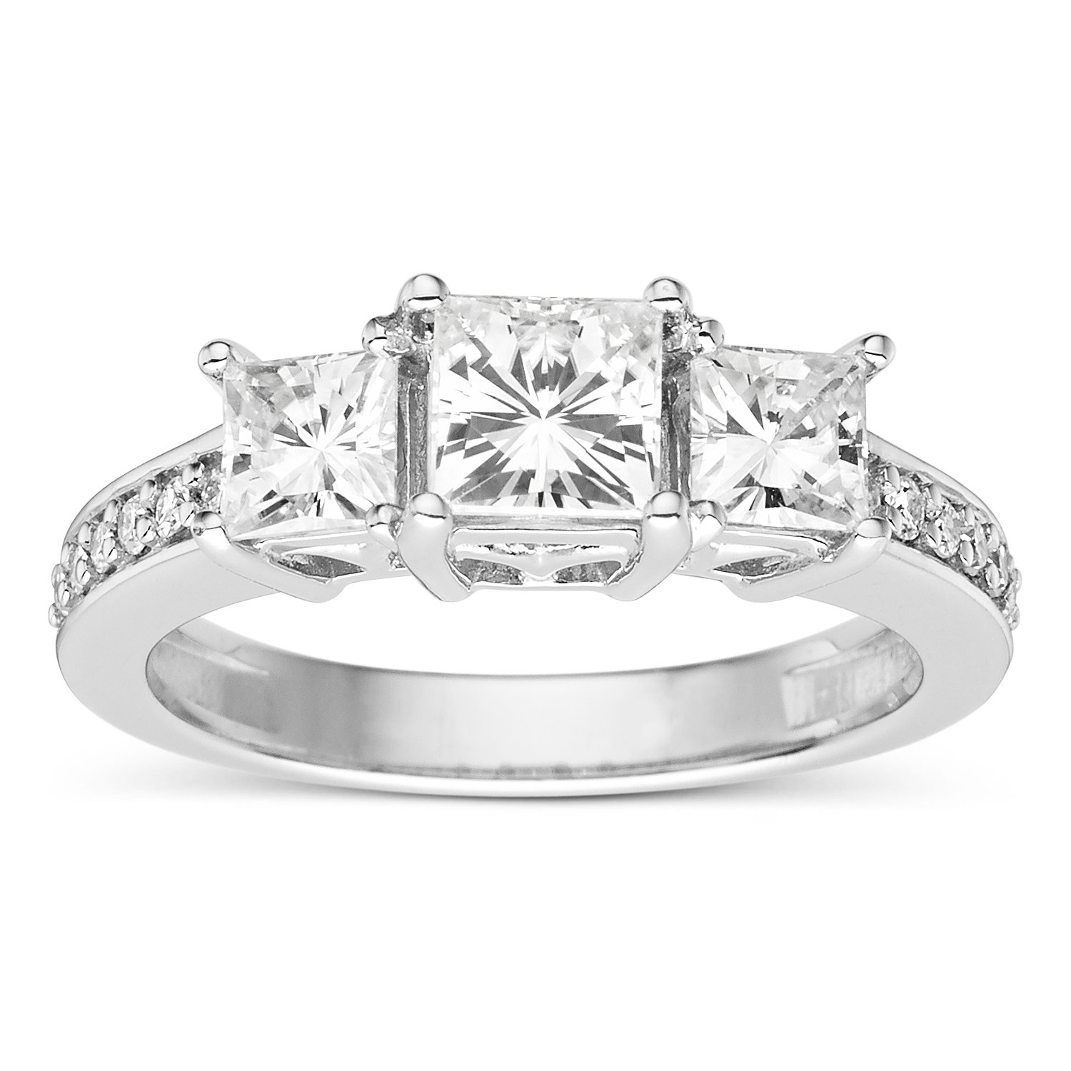 Forever Classic Square 5.0mm Moissanite Engagement Ring-size 5, 1.74cttw DEW By Charles & Colvard