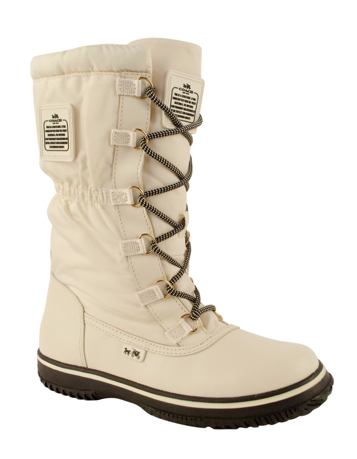 Coach Women¡¯s Sage Chalk/Chalk Lace-Up Cold Weather Boots 8.5 (B) M, Style A9177
