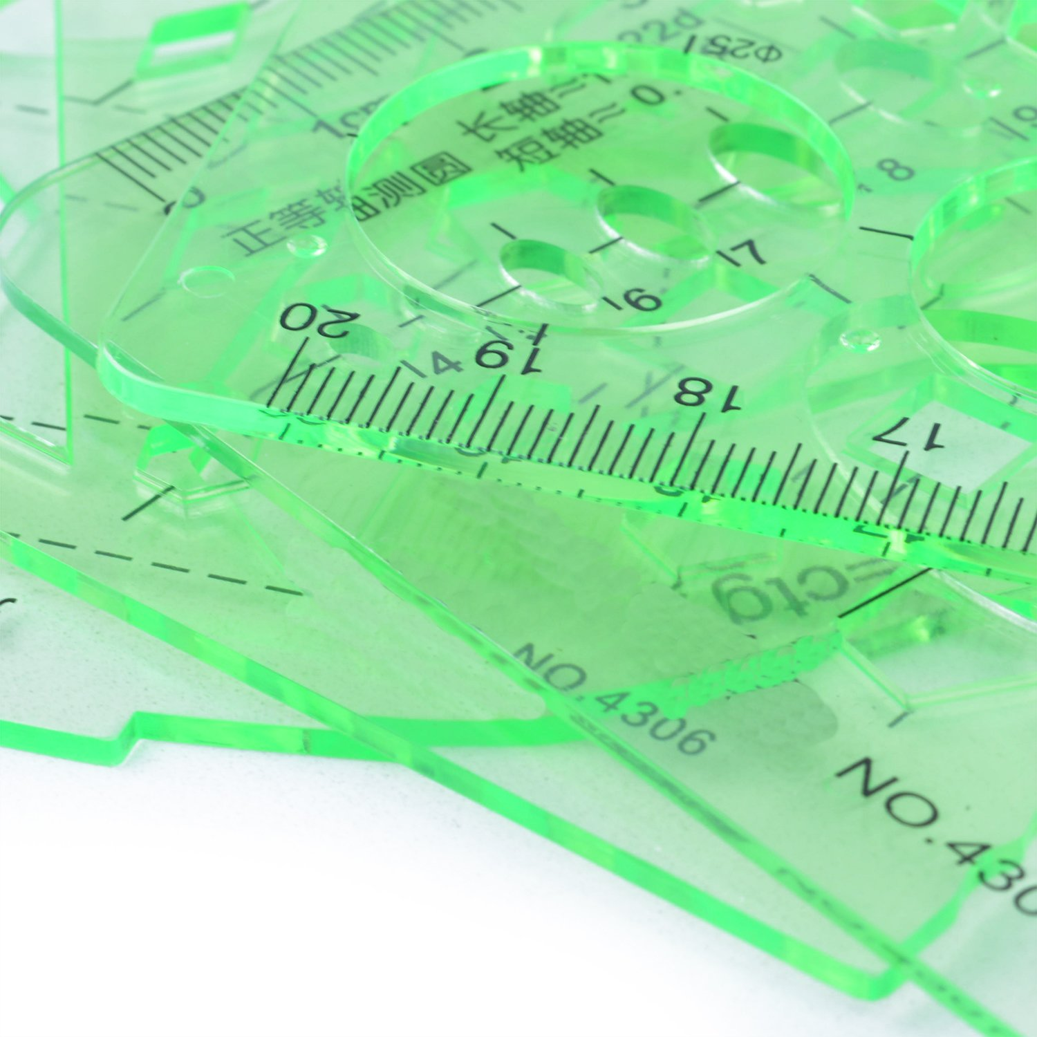 BronaGrand 4pcs Clear Green Color Plastic Measuring Templates Geometric Rulers for Office and School