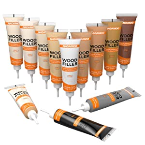 NADAMOO Floor and Furniture Repair Kit Light Color Kit 12 Colors Cover Wood Scratch Touch Up Restorer of Wooden Table, Door, Cabinet,Veneer - Easy to Restore Any Wood, Oak, Maple, Hardwood Surface